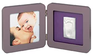 Baby Art 34120051 - Marco doble para foto con material para huella de pie o mano (bordes redondeados), color marrón y morado