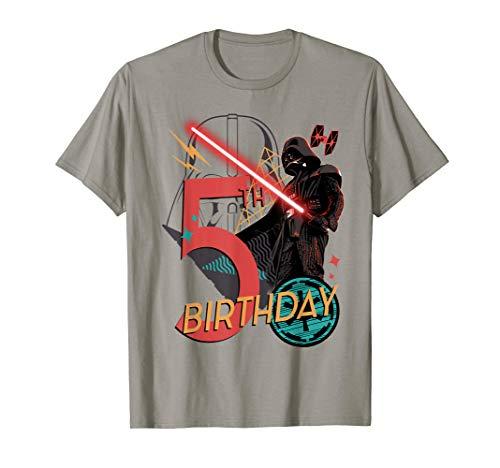 Star Wars Darth Vader 5th Birthday Abstract Background T-Shirt (Star Wars Birthday Shirt)