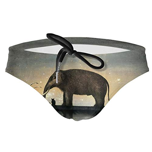 Men's Elephants Cats in The Boat Surreal Art Bikini Trunk Swimming Triangle Shorts Body Swimwear Briefs Swimsuit Black