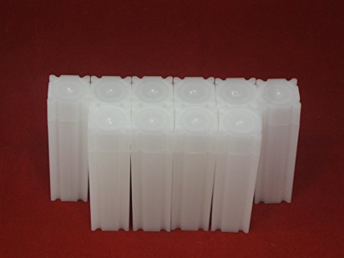 (10) Coinsafe Brand Square White Plastic (Dime) Size Coin Storage Tube Holders