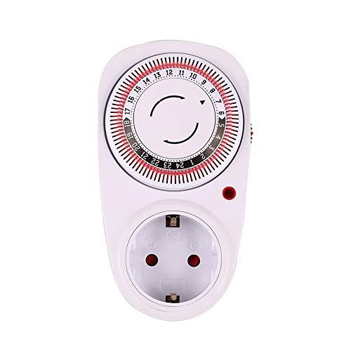 Rojo 24 horas Enchufe a tierra Interruptor de temporizador programable con conexi/ón a tierra Interruptor de cuenta regresiva inteligente Socket Apagado autom/ático en interiores Apagado