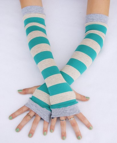 Cheshire Cat Teal Gray Stripes Arm warmers fingerless gloves