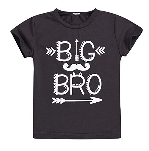 Kids Baby Boy Matching Top Little Big Brother Funny Letters Print Romper T-Shirt Tee Cotton Clothes (Big brothe, 4-5 Years)