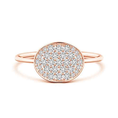 Pave-Set Lab Grown Diamond Oval Cluster Ring in 14k Rose Gold