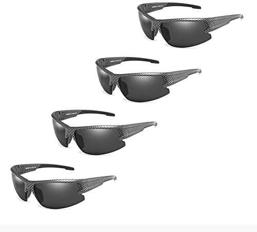 Sport polarisierten Sonnenbrillen for Männer Angeln Fahren Radfahren Urlaub Reisen Anti-UV Art und Weise 4 Paare (Color : Carbon Fiber Frame/Black Lens)