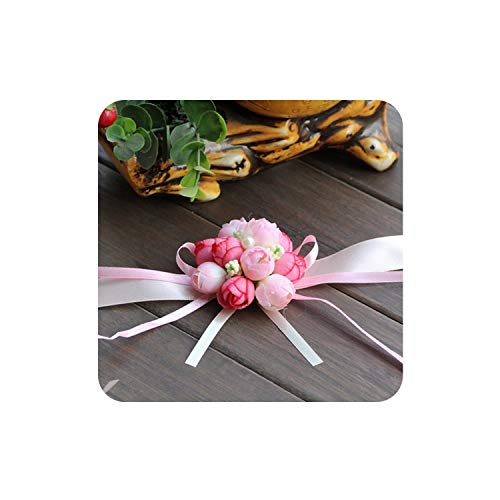 Dance to this Bride Wrist Flower Wedding Boutonniere Champagne Rose Groom Groomsman Artificial Corsage Suit Decorative Accessories,Pink (Flower That Looks Like A Black Eyed Susan)