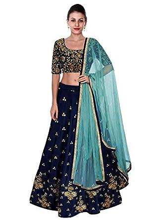 BHAKTI NANDAN CREATION Women's Taffeta Silk Semi-Stitched Lehenga Choli