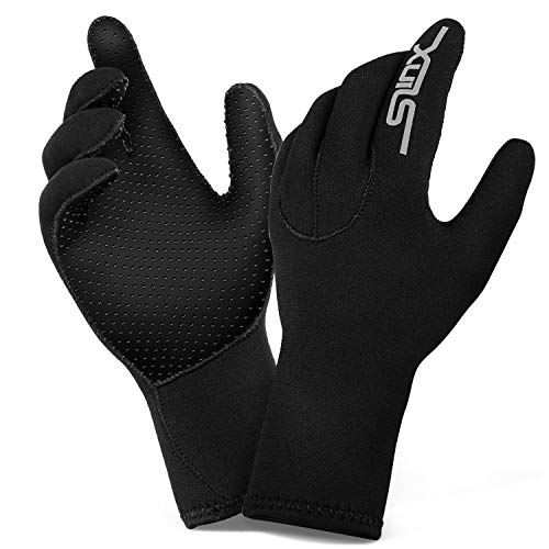 ZIPOUTE Neoprene Diving Gloves, 3MM Five Finger Wetsuit Gloves for Scuba-Diving,Snorkeling, Surfing, Kayaking, Cleaning Pond and All Water Activities for Men and - Wetsuits Medium Glove
