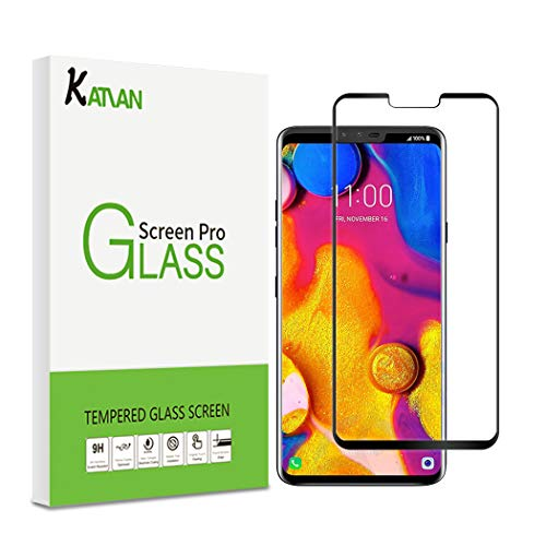 KATIAN Screen Protector for LG V40 Thinq with 9H Hardness & 3D Touch, HD Full Coverage [No-Bubble] [Scratch-Proof] [Case-Friendly] Tempered Glass Film for LG V40 Thinq [Black]