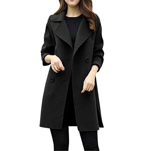 NOMENI Women Long Double-Breasted Woolen Coat, Womens Casual Outwear Slim Overcoat (Black, US:XS/Asian (Crew Petite Coat)