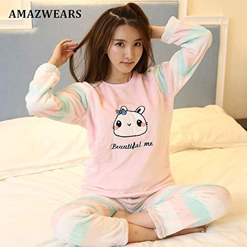 Mujeres Larga Invierno Jylw Para Dibujos Manga Conjuntos De Pijamas Light Animados Dormir Ropa Pink Mujer Rabbit HTTq70