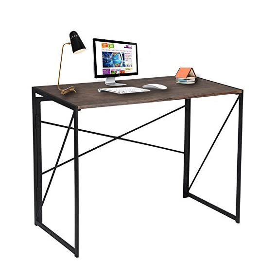 "Writing Computer Desk 39"" Modern Simple Study Desk Industrial Style Folding Laptop Table for Home Office Notebook Desk Brown Desktop Black Frame - Best Gift Choice - No Assembly Computer Desk:Only 1 step, just open the black frame and snap the desktop on it, then the installation is complete. Computer Writing Desk-- FOLDING AND PORTABLE :When not in use can be folded in the corner, save space; Also convenient to carry when going out for a picnic. Computer Writing Desk-- APPLICABLE ROOM AND FUNCTION :Suitable for study, bedroom, living room, kitchen, children's room, office.Can be a computer desk, learning tables, game tables, picnic tables,secretarial desk. - writing-desks, living-room-furniture, living-room - 41QeQIr6ftL. SS570  -"