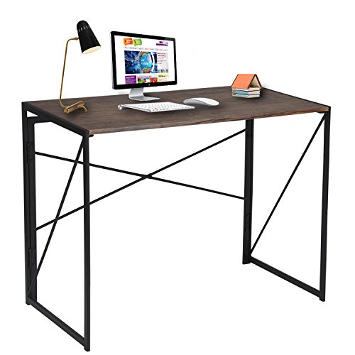 (Writing Computer Desk Modern Simple Study Desk Industrial Style Folding Laptop Table for Home Office Brown Notebook)
