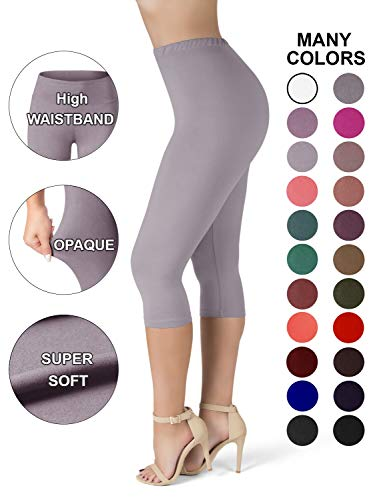 SATINA High Waisted Ultra Soft Capris Leggings - 20 Colors - Reg & Plus Size ((One Size, Gray) (Gray Capris Womens)