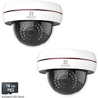 EZVIZ Husky Dome HD 1080p Outdoor Wi-Fi Video Security Camera, Works with Alexa, 16GB MicroSD – Two Pack