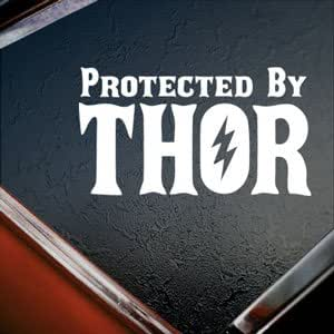 Protected By Thor White Silhouette Car Window Vinyl Sticker Decal