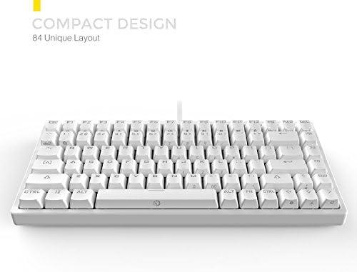 DREVO Gramr 84 Key Backlit USB Wired Tenkeyless Mechanical Gaming Keyboard  Brown Switch-White