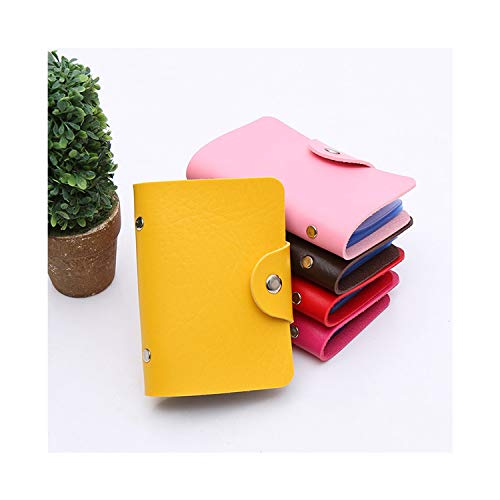 Credit Card Holder Men Women Travel Cards Wallet PU Leather Buckle Business ID Card Holders WML99,Yellow (Best Credit Card Signup Bonus Offers)