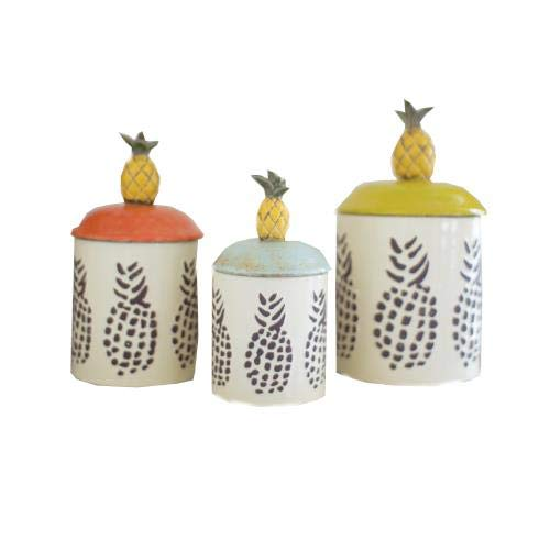SET OF THREE CERAMIC PINEAPPLE - Canister Pineapple Kitchen