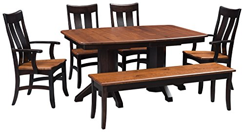 Solid Wood Dining Room Kitchen Table Set, Amish Made Heirloom Quality for Today & Generations, Double Pedestal, 2 Leaves-4 Chairs-1 Bench Crafted From Elm and Maple Hardwoods, White Glove Delivery - Amish Pedestal