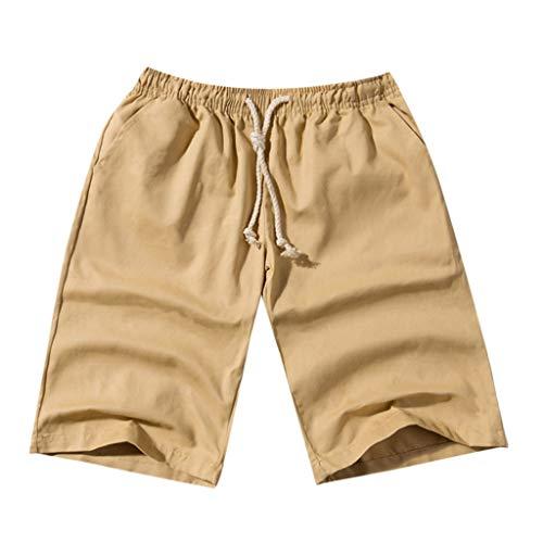 Summer Men Short Pants - Male Fashion Summer Casual Solid Pocket Drawstring Cotton Shorts Cotton Blend Trousers (XXXL, Khaki)