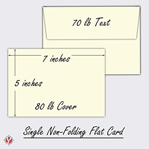 Cream/Natural/Off White, Heavy Blank Note Cards and Envelopes Size 5 X 7-50 Per Pack. - This Is Not a Fold Over Card. (Ivory) by S Superfine Printing (Image #4)'