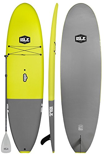 ISLE Cruiser Soft Top Stand Up Paddle Board (4.5' Thick) SUP Package   Includes Adjustable Paddle, Center Carry Handle, Center Fin, Non Slip Deck (Yellow, 10'5')