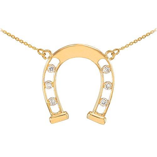Collier Femme Pendentif 14 ct Or Jaune Bonne Chance Fer A Cheval (Livré avec une 45cm Chaîne) avec Diamants