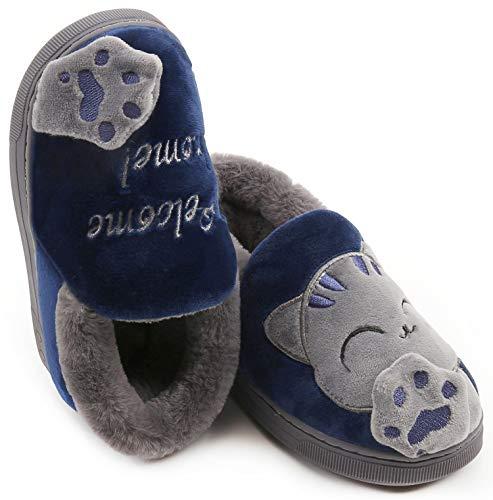 Vunavueya Hiver Chausson pour Enfants et Adultes Garçon Fille Pantoufle Hiver Chaussures de Maison Femmes Hommes Chaude…