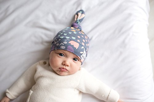 """Baby Beanie Hat Top Knot Stretchy Soft for Girl """"Meadow"""" by Copper Pearl"""