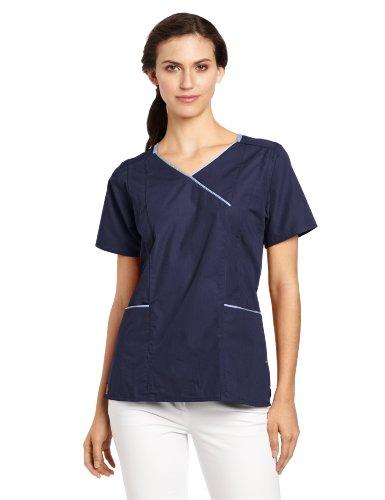 Carhartt Women's Scrubs Y-Neck Contrast Top, Navy, Small