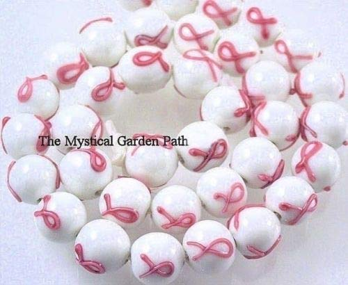 6 Opaque White with Pink Ribbon Breast Cancer Awareness Glass Beads for Jewelry Making, Supply for DIY Beading Projects ~11mm - Wholesale Breast Cancer Jewelry