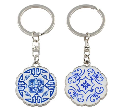 REAL SIC Classy Blue and White Ceramic Pottery Keychain - Oriental China Vase & Dish Key Ring, Key Holder for Everyday Use (Round)