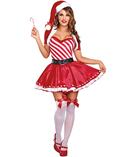 Dreamgirl Women's Candy Cane Cutie Costume, Red/White, Medium