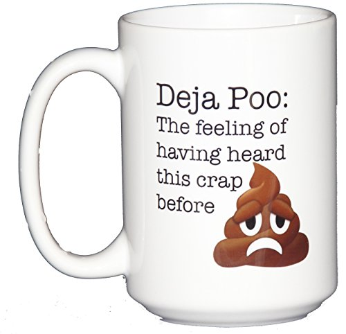 Deja Poo – The Feeling of Having Heard This Crap Before – Funny Poop Emoticon Coffee Mug Humor
