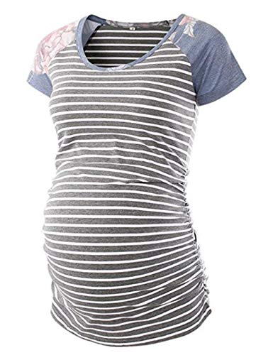 Womens Classic Baseball Crew Neck Raglan Short Sleeve Side Ruched Maternity Tops Tunic T Shirts Pregnancy Clothes