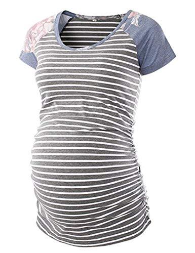 T-shirt Maternity Pregnancy (Womens Classic Baseball Crew Neck Raglan Short Sleeve Side Ruched Maternity Tops Tunic T Shirts Pregnancy Clothes)