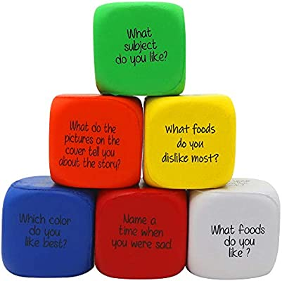 The Twiddlers 6pcs Conversation Starters Cubes Educational Reading  Comprehension - Foam Games Question Dice Excellent Tool for Learning Social  and