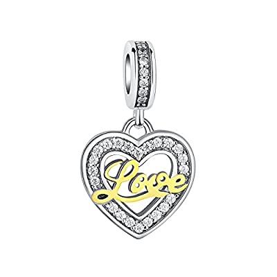 "Glamulet ""Love Always in Your Heart"" 925 Sterling Silver Heart Shape Charms Gold Love Letters Pendants from Glamulet"