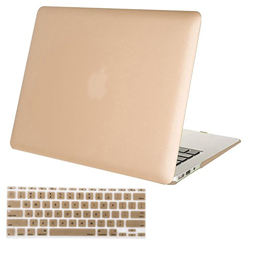 MOSISO Plastic Hard Shell Case & Keyboard Cover Compatible MacBook Air 11 Inch (Models: A1370 & A1465), Gold