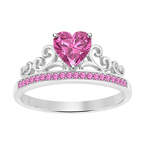 Sapphire Princess Ring Pink (Gold & Diamonds Jewellery Womens Tiara Princess Promise Heart Crown Ring Pink Sapphire 14k White Gold Over .925 Sterling Silver)