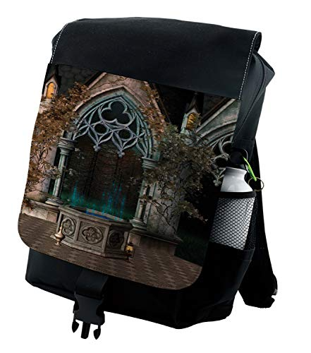 Ambesonne Gothic Backpack, Old Gateway to Forest, Durable All-Purpose Bag