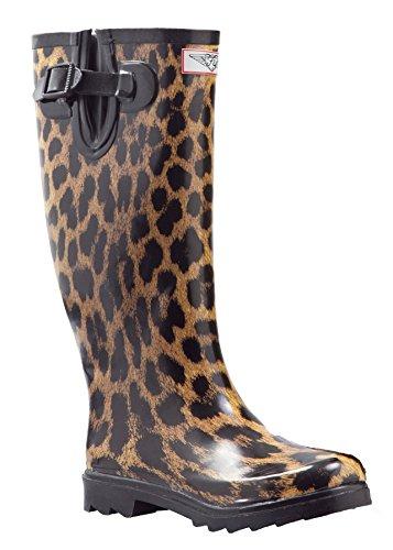 Women Rubber Rain Boots - Leopard - Size (Leopard Rain Boots)