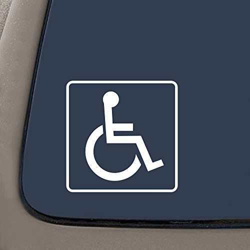DD969W Handicap Sign Decal Sticker | 5-Inches By 5-Inches | Premium Quality White Vinyl