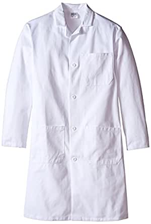 "Worklon 420-36 100% Sanforized Cotton Heavyweight Twill Men's Knee Length Lab Coat, Button Front, White, 41"" Length, Size 36"