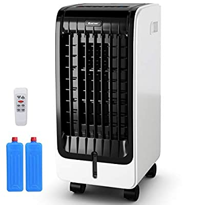 COSTWAY Evaporative Cooler, Portable Air Cooler with Fan & Humidifier Bladeless Quiet Electric Fan w/Remote Control for Indoor Home Office Dorms