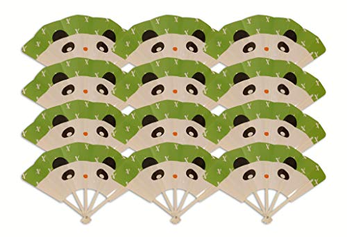 Hand Fans Toddler Birthday Party Favors for Kids; Panda 12ct Fun, Safe; Folding Fan Toys Boys ()