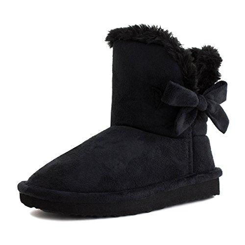Kali Footwear Girls Ribbon Fur Ankle Short Faux Suede Boots Black 8 M US (Girls Faux Fur Boots)