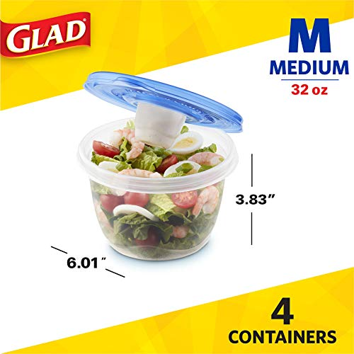 Gladware To Go Food Storage Containers   Glad Medium Size Round Food Storage That Holds up to 32 Ounces of Food, Solids, or Liquids   32 oz Containers, 4 Count Set