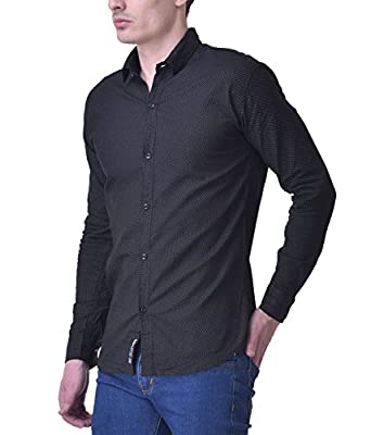 Trendy Trotters Men's Full Sleeve Black Cotton Shirt: Amazon.in ...